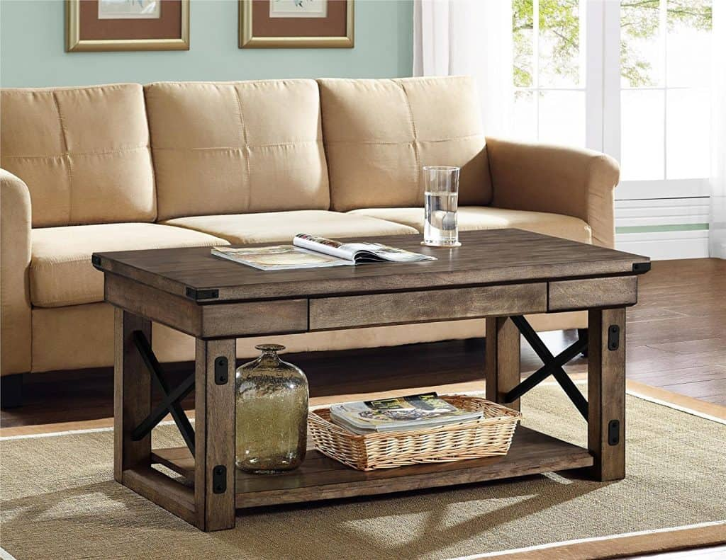 Altra Wildwood Wood Veneer Reclaimed Wood Coffee Table