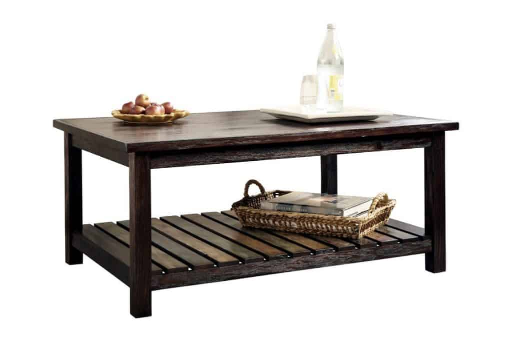 Ashley Furniture Signature Design Mestler Rectangular Cocktail Table in rustic brown