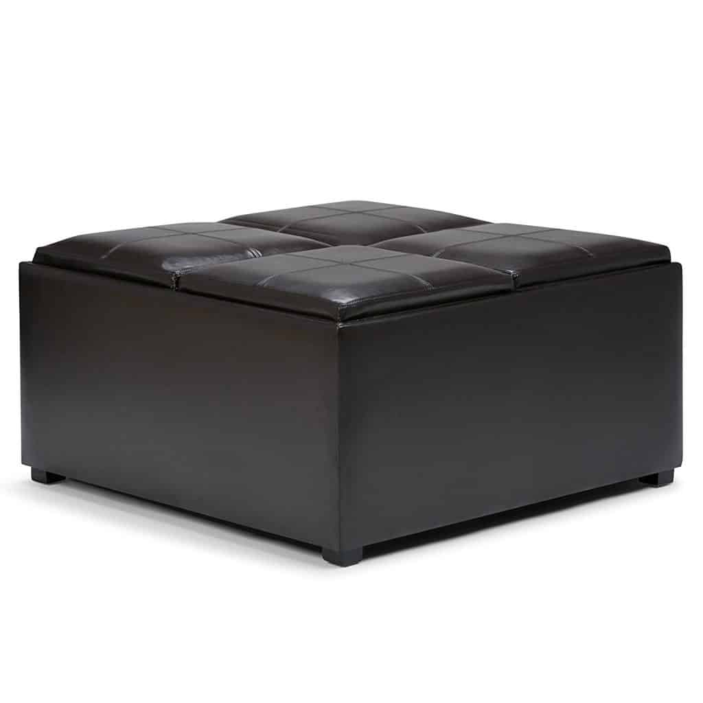 The Simpli Home Avalon Coffee Table Storage Ottoman w/ 4 Serving Trays