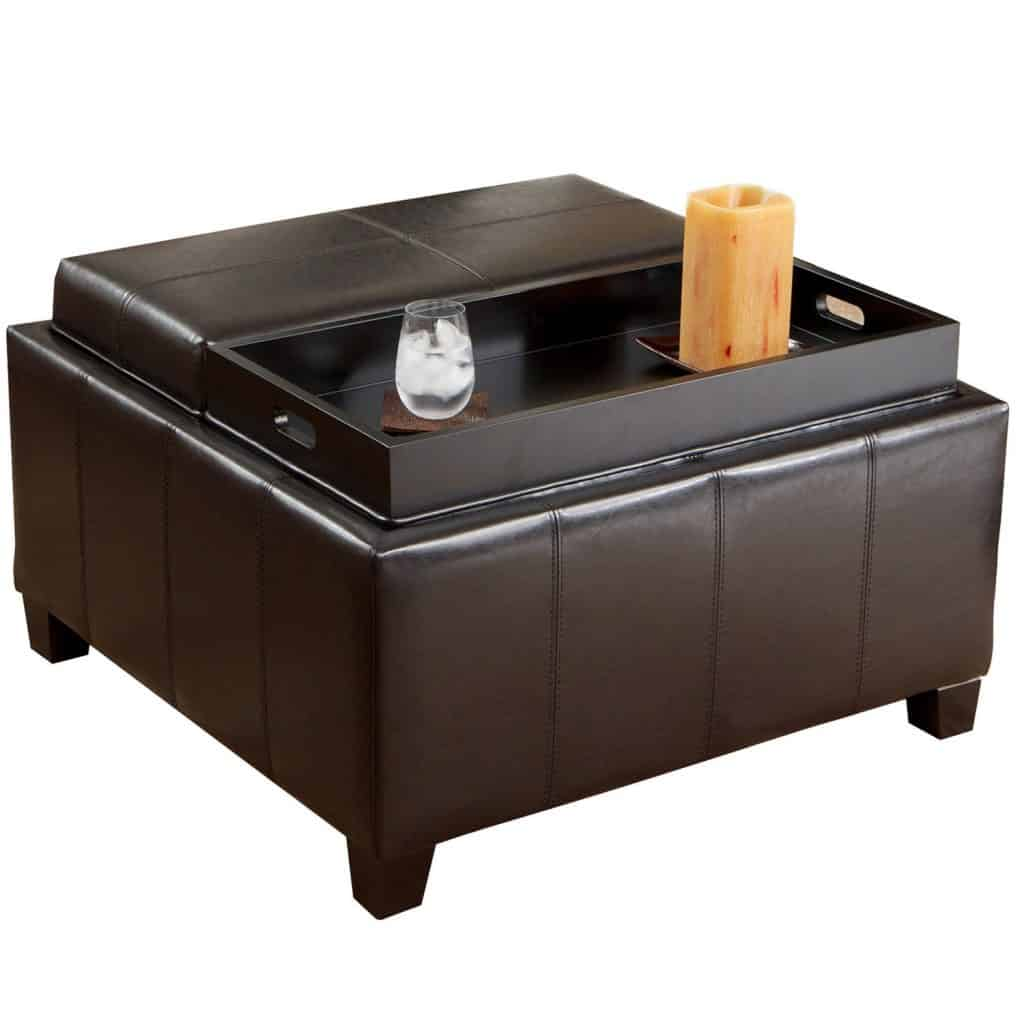 Mansfield Leather Espresso Tray Top Storage Ottoman Coffee Table