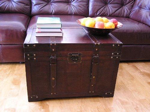 Gold Rush Steamer Trunk Wooden Treasure Chest/trunk coffee table